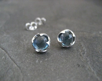 London blue topaz, stud earrings, rose cut, genuine gemstone, faceted blue topaz, thorn setting, silver studs, brushed silver, AAA grade