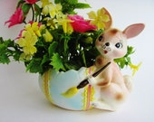 Vintage Easter Bunny Rabbit And Egg Planter Rubens Originals 327A With Pink Yellow Plastic Flowers