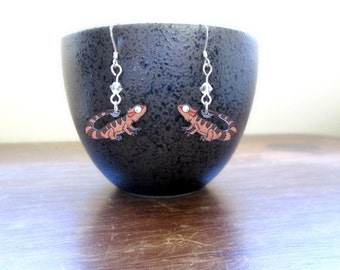Bearded Dragon Earrings - Hand Drawn Shrink Plastic and Sterling Silver