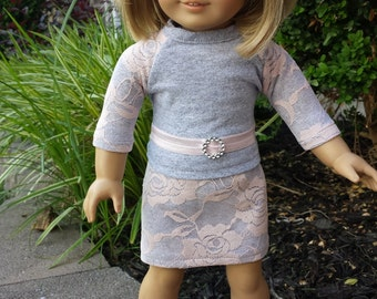 """American Girl Doll Clothes, 4 piece Pink Lace and Grey Tee, Skirt, Belt & Pink Shoes, Made to Fit American Girl and Similar 18"""" Dolls"""