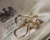 Small Diamond Earrings, Diamond Drop Earrings, 14 Karat Yellow Gold Earrings, Tiny Diamond Earrings, April Birthstone Jewelry.