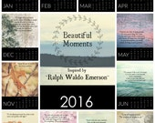 2016 Calendar, Inspirational Quote Calendar, Emerson Quote, Ralph Waldo Emerson Desk Calendar, Quote Art Print, Nature Calendar