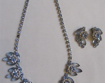 On Sale! 1950's Light Blue Rhinestones And Faceted Glass Necklace And Earrings Set/ Demi Parure