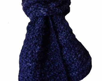 Hand Knit  Scarf - Navy Blue Hand-Dyed Wool Furrow