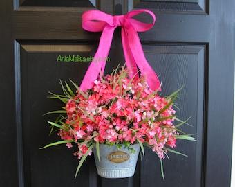 spring wreath summer wreaths for front door wreaths pink decoration outdoor wreaths pink summer wreath