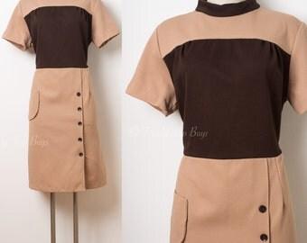 Mod Dress, 60s Dress, Mad Men Dress, Vintage Brown Dress, Color Block Dress, Mod Brown Dress - L/XL