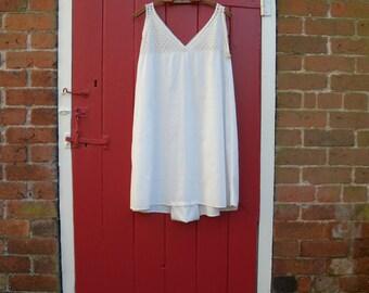 1910s 1920s step in / Edwardian nightwear / 20s cotton teddy / antique lace / onesie lingerie