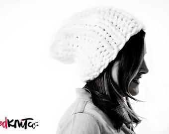 Ready to ship! WHITE DUBLIN hat...Vegan knit hat, hand knit, chunky knit, knit toque, knit beanie, knit hat, vegan knit, vegan gift.