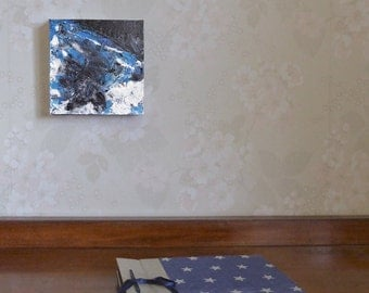 Small abstract painting, unique gift, OOAK wall art, desk art, original painting, blue black art,  6 x 6 canvas, free shipping