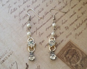 Cottage Chic Earrings with Dainty Pearl Beads and Gorgeous Rhinestones Encased in Silver Metal Rings. Perfect for Gifting. Hang 2.5 Inches.