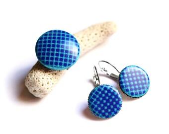 Navy blue jewelry set Geometric earrings Blue ring Minimalist jewelry Modern earrings Statement jewelry set Dangle earring Contemporary ring