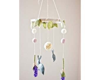 Felt Flower and Bunny Baby Mobile: Garden Party Nursery Decor- Crib Mobile-Custom Colors Available