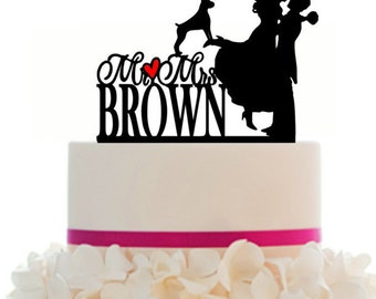 Custom Wedding Cake Topper Mr and Mrs Personalized With Your Last Name, a Heart, Pet, with Removable Spikes