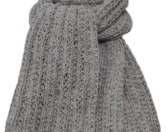 Hand Knit Scarf - Light Grey Cody Trail Ridge Rib Mountain Meadow Wool