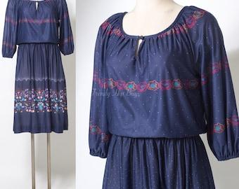 Vintage 80s Dress, Vintage Blue Dress, Vintage Blouson Dress, 80s Secretary Dress, Vintage Floral Dress, Vintage Navy Blue Dress - M/L