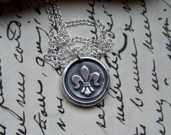 Fleur de Lis necklace -  wax seal necklace - silver pendant - French - UK