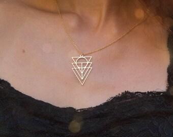 Triangle Geometric Necklace, Triangle Necklace, Triangular Ritual Necklace, Indie Jewelry, handmade Triangular jewelry, Urban style jewelry,