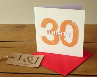 Thirtieth Birthday, 30th Birthday Card, 30 Years Old, 30th Birthday, Thirty Birthday, 30th Birthday Gift, Birthday Card, 30th Card