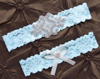 Something Blue Wedding Garter, Blue Garter Set, Blue Bridal Garter Set, Blue Lace Garter, Blue  Garter Belt, Blue Garter, Crystal Garter Set