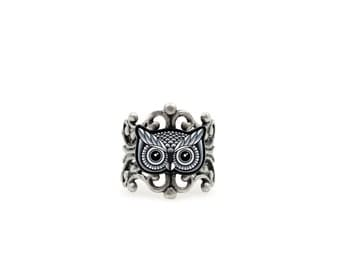 Black and Grey Owl Ring - Antiqued Silver Filigree Adjustable Band