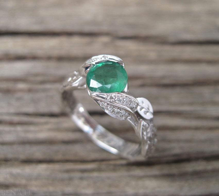 Emerald Leaf Engagement Ring Emerald Engagement Ring Leaf