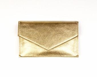 MARY Gold Leather Clutch. Metallic Leather Clutch. Small Gold Wedding Clutch. Gold Bridal Clutch