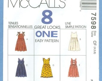 1996 Children's and Girls' Sundress, Jumper and Jumpsuit Size 4,5,6 - Vintage McCall's 8 Great Looks Sewing Pattern 7598