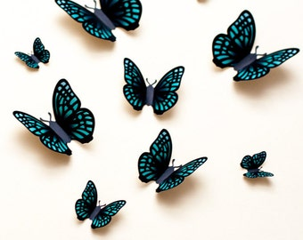 3D butterfly wall art: green 3d wall butterflies, paper butterfly wall stickers