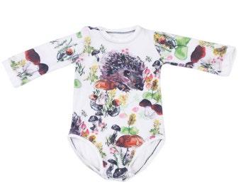 Newborn Clothes ,Hedgehog Print , Organic Baby Clothes , Gift for New Mom , Gift for New Baby , Organic Baby Onesie , Baby Gift ,Long Sleeve