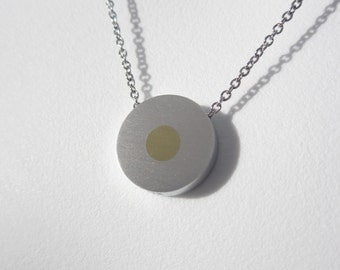 Brass Dot Pendant Necklace – Mixed Metal Necklace – Minimalist Contemporary Jewelry Design