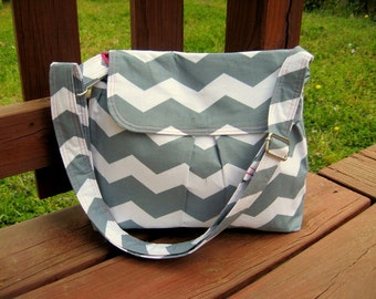 CROSS BODY PURSE, Gray and White Chevron, Floral Blue Lining, Other Colors Available, Made To Order