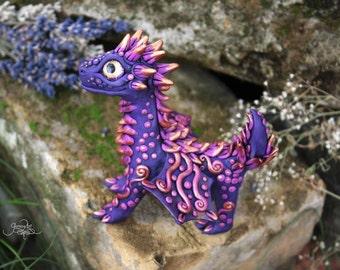 "Sale -15% cuponcode: ""JULYSALE"" - Violet baby dragon sculpture - lavender dragon figurine - purple dragon figure - magic forest animal"