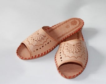 LEATHER slippers bohemian style