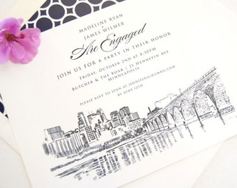 Minneapolis Skyline Engagement Party Invitations, Minneapolis Engagement Announcements You Design it! (set of 25 cards)