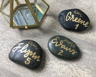 Black and Gold Stone Rocks Escort Card | Outdoor Garden Wedding, Escort Cards, Place Cards, Seating Cards