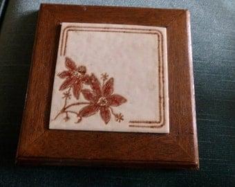 Vintage Ceramic Tile, H&R Johnson Ltd. Of England, Tile Trivet, England trivet, wood framed tile trivet, Hot plate, Trivet from England