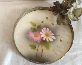 Lovely Vintage Painted Metal Vanity Tray 1940s Romantic French Decor