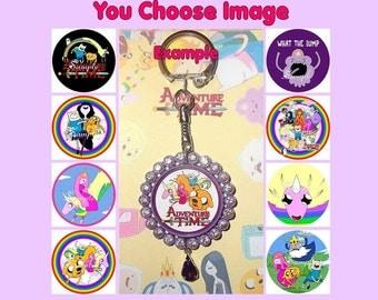 ADVENTURE TIME Keyring Keychain Key Ring Chain U Choose Image & Colours - Bottlecap Rhinestones Lady Rainicorn Bubblegum Finn Jake Marceline
