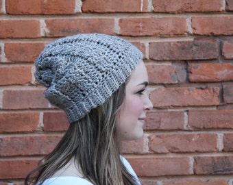 Adult Cable Beanie, Cable Beanie, Crochet Beanie, Beanie, Winter Hat