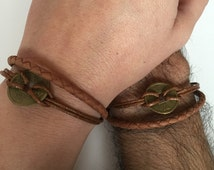 Couples Bracelets 215- friendship love cuff bronze Chinese charm bracelet leather braid gift adjustable current trendy  innovative