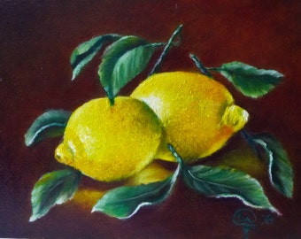 Original Oil Painting. Still life. Pair of Lemons.