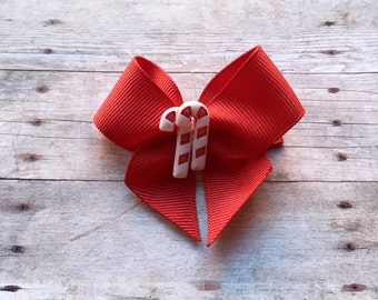 Red Candy Cane Bow Hair Clip