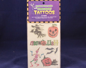 Vintage Ganz Glow in the Dark Temporary Tattoos. Sealed Package