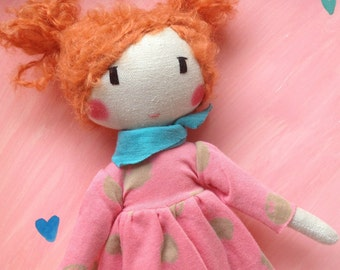 Handmade Cloth doll, Rag doll, Ballerina doll - ROZINA - Unique doll to be dressed