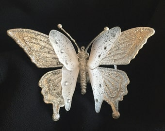 Sparkly White And Silver Butterfly Corsage