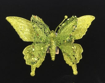 Sparkly Green Butterfly Corsage