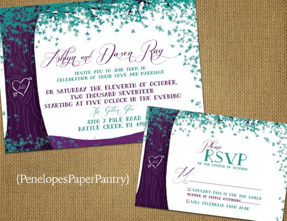 Purple Rustic Wedding Invitations: Rustic Fall Wedding Invitations.Purple And TealOak TreeFall