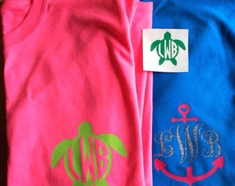 Monogrammed Summer Pocket Tee's. Turtle. Anchor