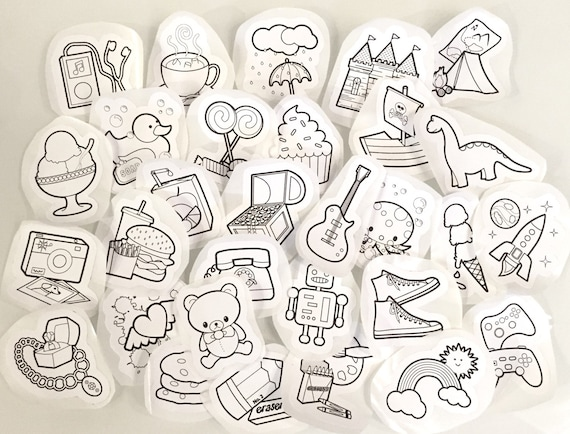 cute things stickers to color by brandiledellmakes on etsy. Black Bedroom Furniture Sets. Home Design Ideas