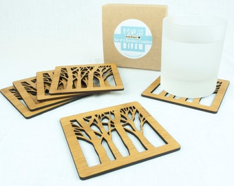 Wooden Coasters - Wood Tree Pattern - Set of 6